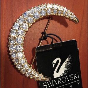 """Stunning SWAROVSKI Crystal """"Crescent Moon"""" Brooch"""